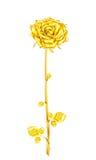 Rose d'or de vintage de tige et feuilles sur un fond blanc V Image libre de droits