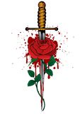 Rose and dagger. Vector illustration rose and dagger Royalty Free Stock Images