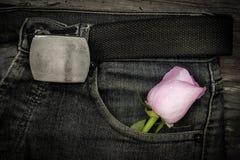 Rose dans des blues-jean de poche Images libres de droits