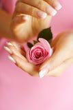 Rose dans des mains Photo libre de droits