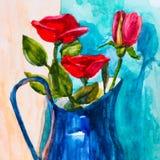 Rose dans le vase, dessin de waretcolor Image libre de droits
