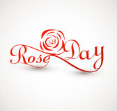 Rose day for valentine week colorful typography text  Royalty Free Stock Images