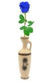 Rose de bleu dans le rétro vase Photographie stock libre de droits