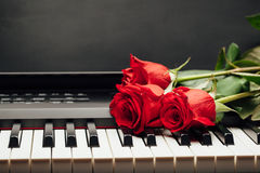 Rose de clés et de rouge de piano Images stock