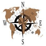 Rose de compas avec la carte du monde Photo stock