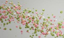 Rose de fond de sucrerie de couleur en pastel et vert, beau fond en pastel Photos stock