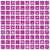 100 rose de grunge réglé de professions par icônes différentes Photographie stock libre de droits