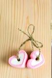 Rose de guimauve de forme de deux coeurs pour l'amour Image libre de droits