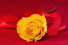 Rose de jaune sur le fond rouge Coeur de ruban Photographie stock libre de droits