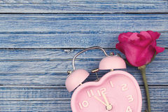 Rose de rose et montre rose de coeur sur le fond en bois bleu Photos libres de droits