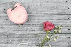Rose de rose et montre rose de coeur sur le fond en bois bleu Photographie stock libre de droits