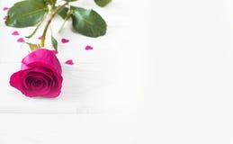 Rose de rose et petits coeurs Image libre de droits