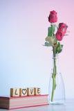 Rose de rouge avec le coeur et l'alphabet en bois Photos libres de droits
