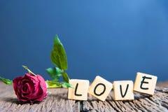 Rose de rouge avec le coeur et l'alphabet en bois Image stock