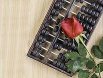 Rose de rouge d'isolement et abaque sur le plancher en bois Images libres de droits