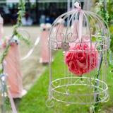 Rose de rouge dans la cage à oiseaux Photo libre de droits