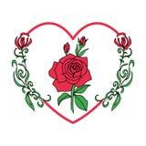 Rose de rouge dans la forme de coeur pour le jour du ` s de valentine, styl de fleur de vintage Images libres de droits