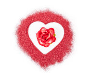 Rose de rouge dans le scintillement rouge de coeur Images libres de droits