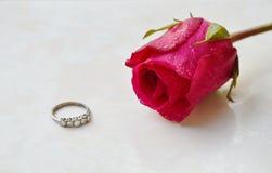 Rose de rouge et anneau de mariage sur le fond de tuile Image stock