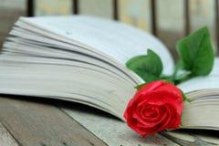 Rose de rouge et le livre Photos libres de droits
