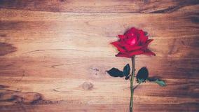 Rose de rouge sur le concept en bois d'amour de fond Photos libres de droits