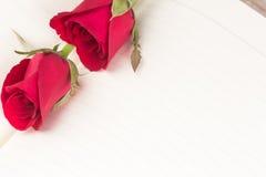 Rose de rouge sur le fond de carnet photo libre de droits