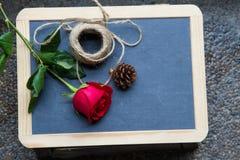 Rose de rouge sur le tableau noir Photo stock