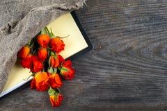 Rose de rouge sur un carnet et un crayon Photos libres de droits