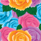 Rose design colorful seamless pattern Stock Photos
