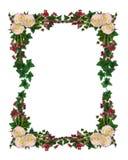 Rose del bordo dei fiori e dell'edera Fotografie Stock Libere da Diritti