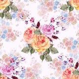 Rose del mazzo dell'acquerello Reticolo senza giunte floreale royalty illustrazione gratis
