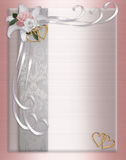 Rose del raso del bordo dell'invito di cerimonia nuziale Fotografia Stock Libera da Diritti