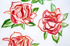 Rose dell'acquerello dell'illustrazione con le foglie verdi Immagini Stock