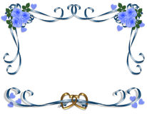 Rose dell'azzurro dell'invito di cerimonia nuziale Fotografia Stock Libera da Diritti