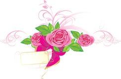 Rose dentellare con l'ornamento e l'arco Fotografia Stock Libera da Diritti