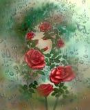 Rose detrás del vidrio Imagenes de archivo