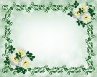 Rose di bianco dell'invito di cerimonia nuziale Immagine Stock