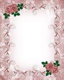 Rose di colore rosso del modello dell'invito di cerimonia nuziale Fotografia Stock Libera da Diritti