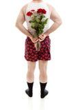 Rose di sorpresa per il giorno di biglietti di S. Valentino Immagini Stock Libere da Diritti