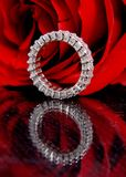 Rose and diamond. Photo of a bracelet with diamonds Stock Photo