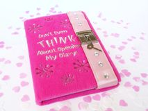 Rose diary. Beautiful pink diary to young girl Royalty Free Stock Photos