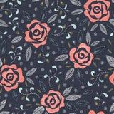 Rose disegnate a mano, imitanti i punti pieghi del ricamo, sul modello senza cuciture di vettore floreale blu scuro del fondo royalty illustrazione gratis