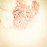 Rose dolci di colore su struttura della carta del gelso Fotografie Stock Libere da Diritti