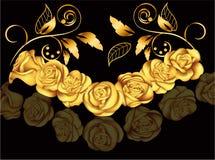 Rose dorate nello stile vittoriano Illustrazione di vettore con i fiori Decorazione dell'annata Oggetto d'antiquariato, lusso, el Fotografia Stock Libera da Diritti