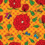 Rose Draw Line Seamless Pattern Royalty Free Stock Images