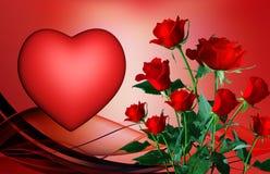 Rose e cuore Fotografia Stock