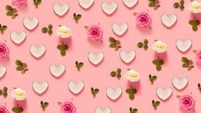 Rose e cuori dentellare Fotografia Stock Libera da Diritti