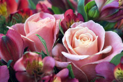 Rose e mazzo rosa di alstroemeria Immagine Stock