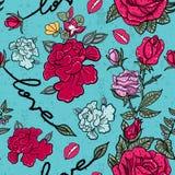 Rose e modello senza cuciture di slogan di amore nello stile di Pop art illustrazione di stock