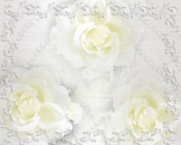 Rose e perle dell'invito di cerimonia nuziale Fotografie Stock Libere da Diritti